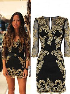 New Arrival Gold Embroidery Long Sleeves Short /Mini Black Homecoming Dresses Prom Gowns CHHD-7106