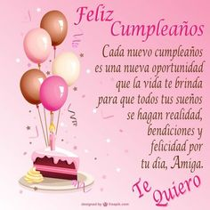 cake and red and pink balloons to dedicate happy birthday friend. Spanish Birthday Wishes, Happy Birthday Wishes Cake, Happy Birthday Video, Happy Birthday Celebration, Birthday Wishes Messages, Happy Birthday Friend, Birthday Blessings, Happy Birthday Quotes, Happy Birthday Images