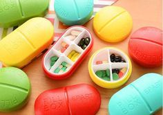 Sweet Candy Color Pill Shape Portable Pill Case Drug Holder Mini Storage Box…