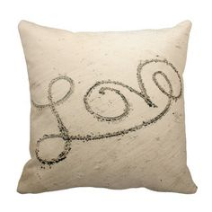 Love In The Sand Pillow , reminds me of our vacation :) #love #sand #beach #pillow