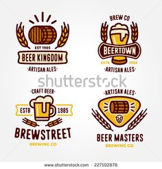 Set of vintage line art badge, logo templates and design elements for beer house, bar, pub, brewing company, brewery, tavern, taproom, alehouse, restaurant (mug, glass, barrel, wheat, hop icons)