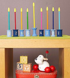 Chanukah Wooden Menorah for kids to make and play with...because playing with fire is dangerous...lol.