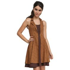 Doctor Who Regeneration Dress Hot Topic (£28) ❤ liked on Polyvore featuring dresses and brown dress