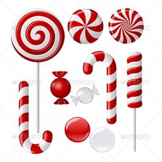 Illustration about Vector set with different red and white candies. Illustration of illustration, lollipops, lolipop - 22391951 Lollipop Decorations, Elf Christmas Decorations, Candy Cane Christmas Tree, Red Christmas, Christmas Ornaments, Christmas Clipart, Xmas Crafts, Christmas Projects, Peppermint Candy