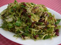 Alton Brown's Brussels Sprouts with Pecans and Cranberries. This is my absolute favorite way to eat brussels sprouts. So yummy!