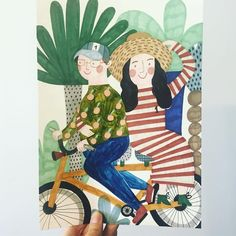 Portrait of amazing couple from Australia 💙 #commission #specialorder #illustration #drawing #portrait #handmade #couple #love #bike #art #instaartist #creative #illustratons #artist #instaartist #plants #colors #design #artsy #illustrator #boy #girl #watercolor