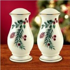 LENOX BOXWOOD & PINE SALT & PEPPER . $29.95. Crafted by Lenox. Salt and Pepper Set. Williamburg Boxwood and Pine Pattern. Crafted by Lenox, this beautiful serving set is a wonderful addition to any holiday table.