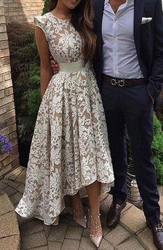 Pretty Jewel Cap Sleeves High Low Ivory Lace Prom Dress with Sash #homecomingdresses