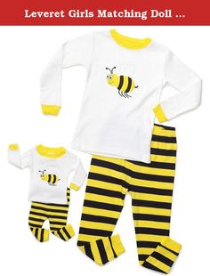 """Leveret Girls Matching Doll & Kid """"Bumble Bee"""" 2 Piece Pajama 100% Cotton (Size 2-10 Years) (8 Years, Black / Yellow). You'll love these cute and comfy matching Kid & Doll PJs from Leveret! The top features a Bee applique, And the bottom features a Striped design, Both top and bottom are made of soft cotton. For fire safety, these pajamas should fit snugly. 100% Cotton Machine Wash Warm, Inside Out Made in China These Pajamas are snugly fitted pajamas, When buying please consider that..."""