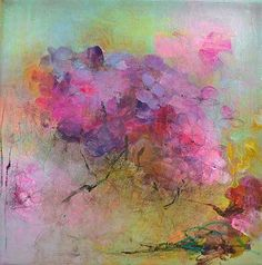 Hydrangea Original Abstract Painting on stretched by Paulina722