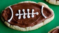 Pinch the dough before baking. Brown frosting and white icing. Simple and cute for Superbowl Sunday.