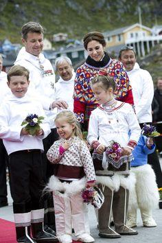 Crown Prince Frederik,Crown Princess Mary and their children visit Qaqortoq,Greenland 3 August 2014