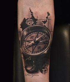 Realistic compass tattoo on half sleeve - 100 Awesome Compass Tattoo Designs <3 <3