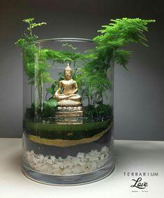A Zen garden with gravel surfaces, shaped Woods and stones radiates peace and ha. A Zen garden wit Mini Zen Garden, Indoor Garden, Garden Art, Miniature Zen Garden, Terrarium Diy, Air Plant Terrarium, Zen Garden Design, Buddha Decor, Meditation Garden