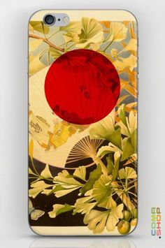 New Print available at A Japan garden culture Collage/Edit by Peter Schildwächter with a japanese hand fan with beautiful Ginkgo leafs in a warm summer light with the red dot of the japanese flag.