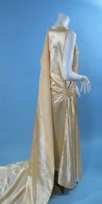 Vintage 1920s Deco Beautiful Candlelight Silk Satin Wedding Gown with Long Train