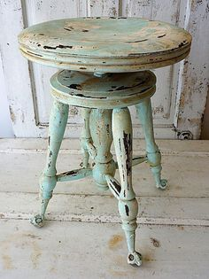 Painted claw foot wood piano stool distressed by AnitaSperoDesign