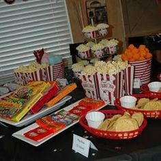 """Movie Theme Party Menu: kids exchange tickets at the """"concession stand"""" for nachos, popcorn, hot dogs, candy and drinks. Neat idea."""