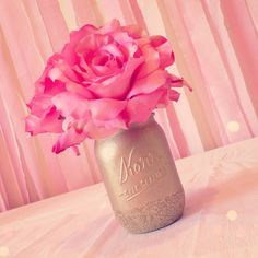 Sweet pink and gold first birthday party fit for a princess! Homemade vase!