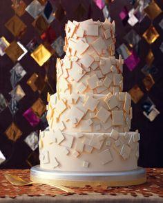 Geometric Patterns - Gold Confetti Cake   Martha Stewart Weddings