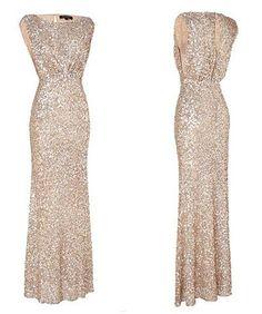 White and Gold Wedding Bridesmaid Dress
