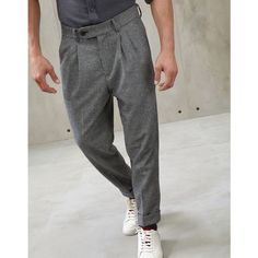 Brunello Cucinelli Casual Trousers ($1,210) ❤ liked on Polyvore featuring men's fashion, men's clothing, men's pants, men's casual pants, grey, mens leopard print pants, mens gray dress pants, mens patterned pants, mens grey dress pants and mens pleated pants