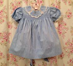 0c1558c42 Vintage toddler dress, 1950's, blue, cotton, 18 months, Easter #Mitzi. Girls  Smocked ...