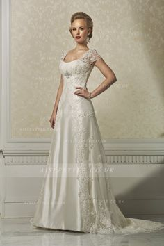 Elegant A-line Straps Beading&Sequins Buttons Lace Sweep/Brush Train Wedding Dresses