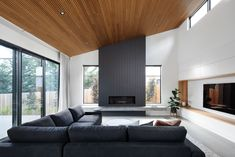 View modern fireplace designs, gas fireplace solutions and gas heaters for sale across Australia including Adelaide, Brisbane, Melbourne, Perth & Sydney. Raked Ceiling, Timber Ceiling, Fireplace Surrounds, Fireplace Design, Fireplace Ideas, Living Room Designs, Living Spaces, Interior Architecture, Interior Design