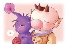 purple pikmin and Captain Olimar - Pikmin Fanart
