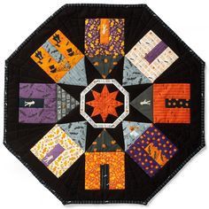 Sew a spooky neighborhood of homes using favorite novelty fabrics. Table Topper Patterns, Quilted Table Toppers, Table Runner Pattern, Quilted Table Runners, House Quilt Block, House Quilts, Quilt Blocks, Small Quilts, Mini Quilts