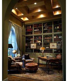 #Classic #kitchen decor Stylish Modern Decor Ideas Dream Home Design, Home Office Design, House Design, Garden Design, Library Room, Dream Library, Cozy Library, Library Ideas, Library Shelves