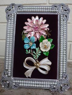 Vintage Shabby Chic Framed Jewelry Art