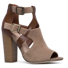 886b1bae828 ShoeDazzle Booties Joyia Bootie Womens Beige ❤ liked on Polyvore featuring  shoes