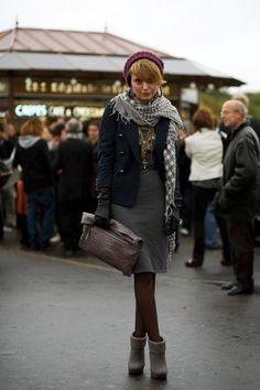 Paris street style. Layered look. A beret, blazer, gray shift dress and a soft shawl.
