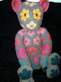 Crochet African Flower Bear