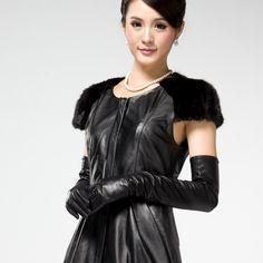 long-gloves-genuine-leather-women-s-sheepskin-finger-gloves-black-fashion-fre-shipping