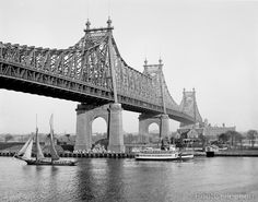 Blackwell's Island, Queensboro Bridge, New York, N.Y. photographed by the Detroit Publishing Company between 1910 and 1920 on 8x10 glass plate negative. View looking from Manhattan toward Long Island.