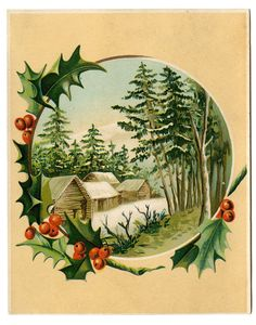 Vintage Christmas Clip Art | Vintage Christmas Clip Art - Winter Scene + Holly Frame - The Graphics ...