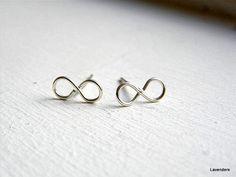 Infinity Earrings , Sterling Silver, Modern Minimalist , Handmade Post Earrings , Silver Studs , Infinity Jewelry