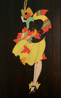 1920s Flapper, Bridge Tally Card, Art Deco, Die Cut, Autumn Art, Gibson, Vintage Card, Antique Tally
