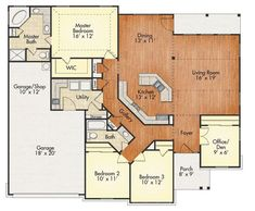 34 trendy house simple modern garage - Home & DIY New House Plans, Dream House Plans, Small House Plans, House Floor Plans, House Plans With Garage, Ranch Floor Plans, Open Floor Plans, 3 Bedroom Home Floor Plans, One Level House Plans