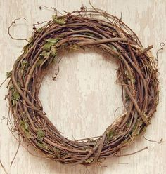 Grapevine Branches Dried Leaves Wreath Country Primitive Floral Decor