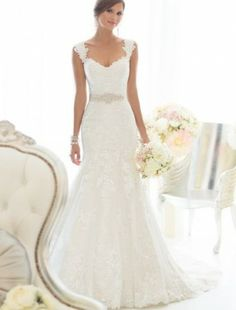 Lace Off the Shoulder A-Line Wedding Dress with Sequins Waistband - Bridal Gowns - RainingBlossoms