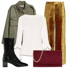 - Roll up the jacket's arms and pair it with an of-the-moment bell sleeve top so the frills peek out. Velvet trousers further elevate the casual topper. Accessorize with mid-calf boots to complement the cropped length of the pant and finish the street-style-inspired ensemble with a sleek suede clutch.