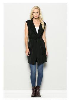 """Adrienne"" Long Vest - Black"