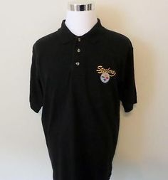 Mens Embroidered Pittsburgh Steelers Black NFL Polo Shirt L Large Football