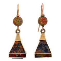 Victorian Scottish Agate earrings, ca. 1880. 15K yellow gold pyramidal shape, inlaid with carnelian, bloodstone, and moss agate stones, with green agate bead topper.