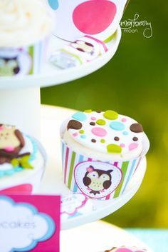 Owl Themed Cupcake Wrappers $5 instant download and print at home labels for your little girl's owl themed birthday party  #owlparty #cupcakewrappers