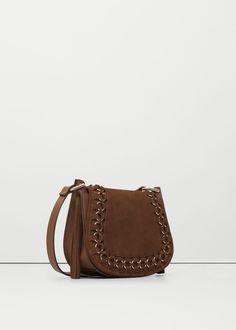 Appliqué leather bag -  Woman   MANGO USA